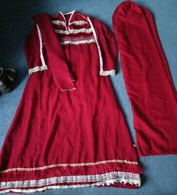 Bollywood Suit With Bells Lace SIZE 8-10 Burgundy • 12£