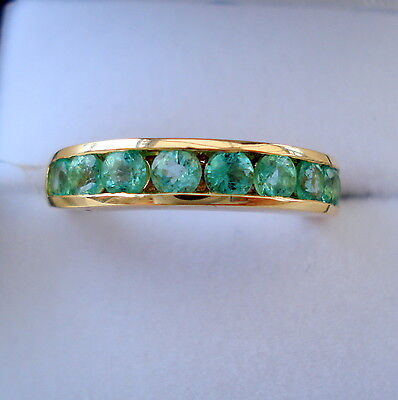 1.00ct Colombian Emerald Gold Half Eternity Band Ring • 299.99£