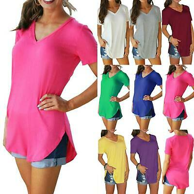 Solid Womens Longline Ladies V Neck Short Sleeve Blouse Casual T Shirt Tops Size • 10.35£