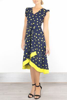 £31.95 • Buy Womens Phase Eight Dress Navy Yellow Polka Dot Fit & Flare Wedding Occasion