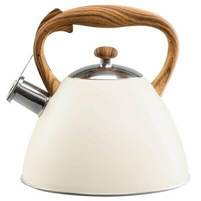 Whistling Kettle 3 L Stainless Steel White Induction  Stove Top Gas Cream Beige • 20.99£