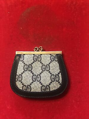 $75 • Buy Vintage GUCCI Coin Change Purse Kiss Lock Authentic Navy