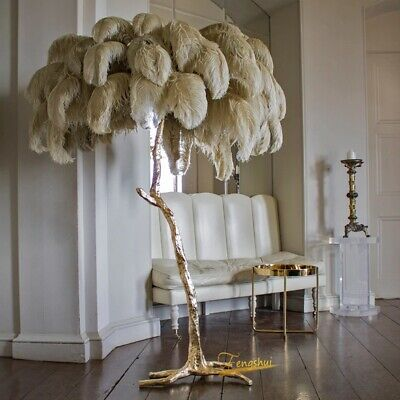 80cm Nordic Ostrich Feather LED Floor Lamp Living Room Stand Light Indoor Modern • 304.62£