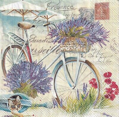 £1.36 • Buy 4x PAPER NAPKINS For Decoupage FRENCH PROVENCE TOUJOUR BICYCLE LAVENDER