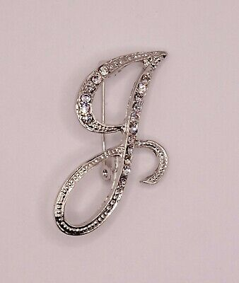 £4.20 • Buy Diamante Silver Initial Letter J Fashion Brooch Pin Brand New FREE P&P