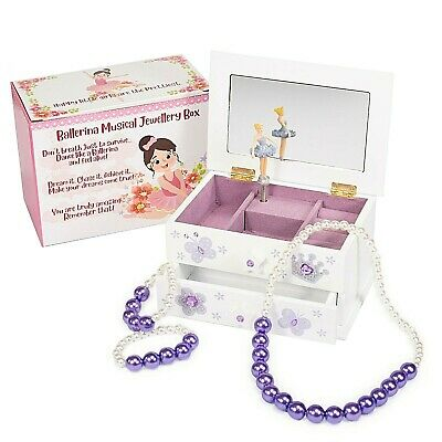 AU44.95 • Buy Kids Ballerina Musical Jewellery Box With Jewellery Set (Lilac) Gifts For Girls