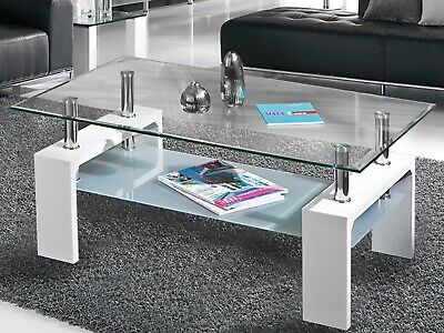 Coffee Table With Storage Shelves Wooden Legs Living Room Furniture White Glass • 61.99£