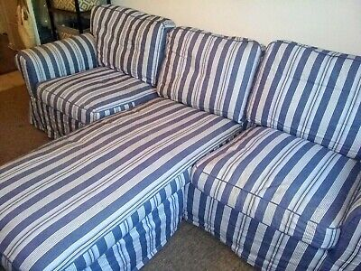 IKEA Ektorp, 3 Seater Sofa With Chaise Covers Only, Abyn Blue & White Stripes • 95£