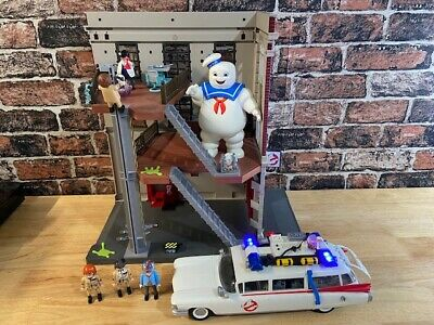 Playmobile Ghostbusters Fire House Plus Figures,Ecto1 Car, Stay Puft Incomplete • 74.99£