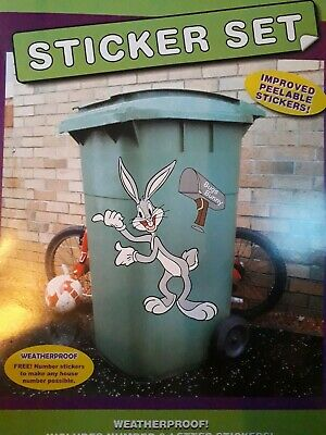 Wheelie Bin Sticker Motif Bugs Bunny Numbers Wall Sticker Self Adhesive  • 3.95£