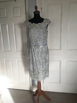 Gill Harvey Mother Of The Bride/Occasions Dress & Coat, 9501, Silver Size 14 • 135£