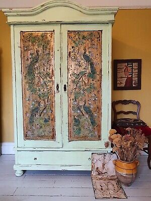 Vintage Painted Pine Armoire /Wardrobe With Inlaid Chinoisirie Peacock Design • 925£