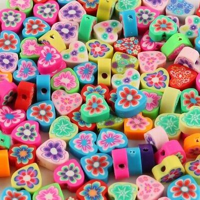 Heart Shape Flowered Polymer Clay Spacer Loose Beads Charm DIY Jewelry Mix 10mm • 2.99£