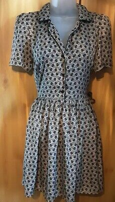 Topshop Cosplay Rare Black Silky Tile Print Piped Shirt Dress Size 6 Ex Con Rare • 39.99£