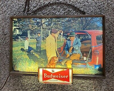 $ CDN381.51 • Buy Working 1950's Vintage Budweiser Lighted Bud Bar Sign Light Hunting Dog Truck