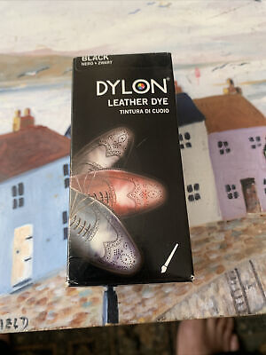 DYLON Leather Dye Shoe Boot Shoes & Applicator Fabric Brush Colour BLACK Easy • 3.90£