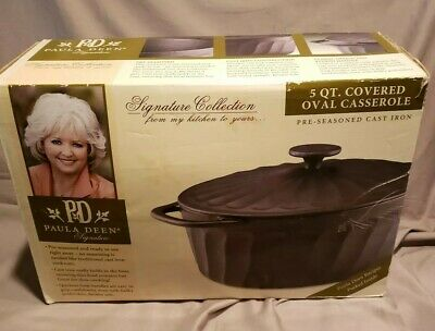 $ CDN74.85 • Buy Paula Deen 5 Qt Cast Iron Covered Oval Casserole Dutch Oven NEW!