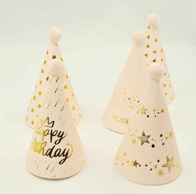 £2.20 • Buy 5x Pink/Gold Patterned Happy Birthday Party Hats With Pom Poms Paper Crowns Kids