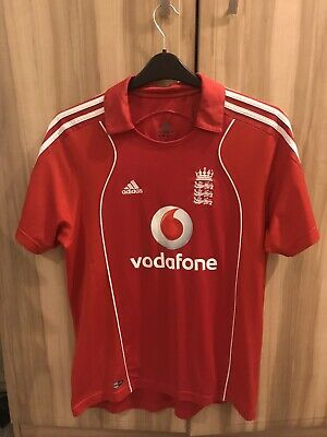 England National 2008 Away Cricket Shirt Jersey Vodafone Adidas Red Size L • 12.99£