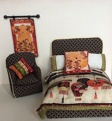 Dolls House Double Bed In Japanese Lantern Fabric, With Chair • 30£