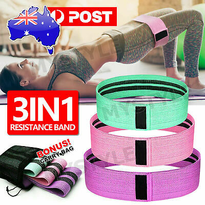 AU12.95 • Buy Resistance Booty Bands Set-3 Hip Circle Loop Bands Workout Exercise Yoga Gym