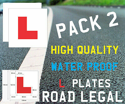 Learner Driver 2 X L Plate PVC Stickers Self Adhesive Learn Driving Car • 1.95£
