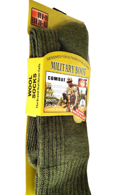 Heat Max Military Boot Green Wool Blend Combat Socks Size 6-11 Pack Of 3,6 & 12 • 23.92£