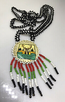 Native American Necklace Leather Hand Embroidery Bead California South Bay Yokut • 4.99£