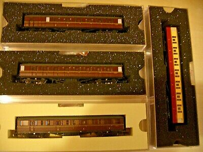 N Gauge Dapol 4 BR Gresley Coaches 3 Red, 1 Red/Cream Boxed Very Good Condition • 60£