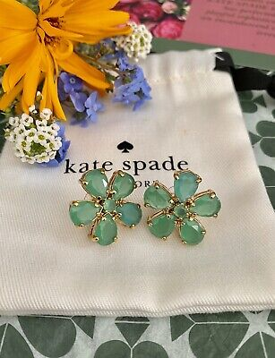 $ CDN52.38 • Buy PRETTY Kate Spade New York FIORELLA FLOWER EARRINGS Giverny Green Crystals Gold