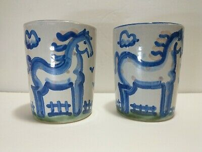 $25.99 • Buy M.A. Hadley Horse Cups Kentucky 2004 Set Of Two
