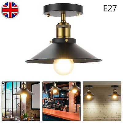 £12.99 • Buy E27 LED Modern Industrial Vintage Style Ceiling Light Fittings Metal Mount Shade