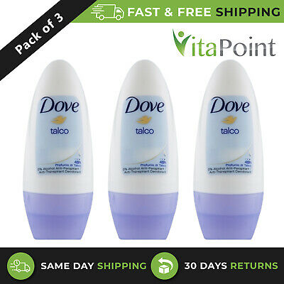 Dove Talco 48Hrs Protection Anti-perspirant Deodorant Roll-On 50ml / Pack Of 3 • 6.01£