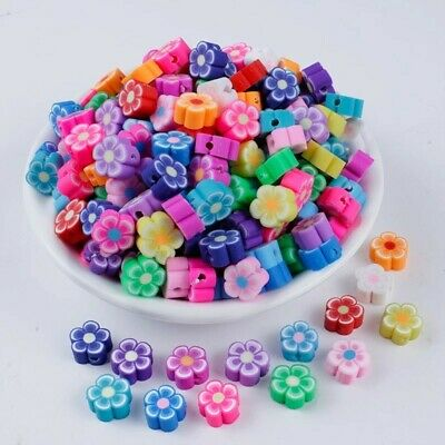 £2.99 • Buy Polymer Clay Flower Shape Beads Spacer Loose Mix Color DIY Jewelry Making 20pcs