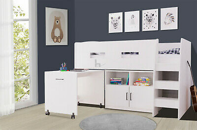 Kids Cabin Bunk Bed With Desk Mid Sleeper Single Children's With Storage Space • 289.99£