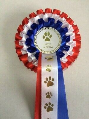 £3.50 • Buy DOG SHOW ROSETTE -BEST IN SHOW (3 Tier Red/White/Blue)  *FREE POSTAGE*