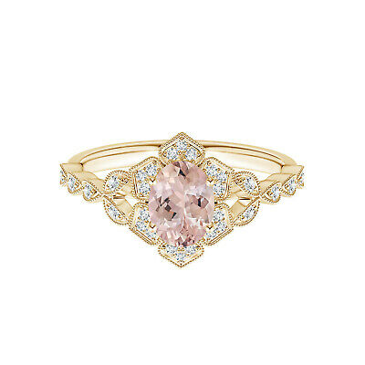 AU429.45 • Buy 1.00 Cts Vintage Oval Morganite 9K Yellow Gold Trillium Floral Shank Ring