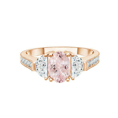 AU452.45 • Buy Three Stone 1.0 Ctw Oval Morganite 9K Rose Gold Side Accents Wedding Ring