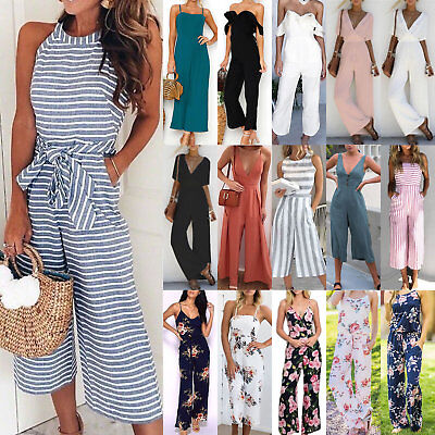 Womens Playsuit Ladies Strappy Sleeveless Romper Wide Leg Jumpsuit Summer Beach • 16.99£