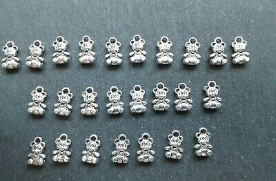 £4 • Buy 25 X Tiny Teddy Bear Charms, 11 X 7 Mm, Jewellery Making Crafts UK Seller
