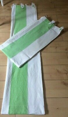 Curtains Green White Striped Tab Top Hand Woven Vintage 66  Wide X 72  Drop • 29.99£