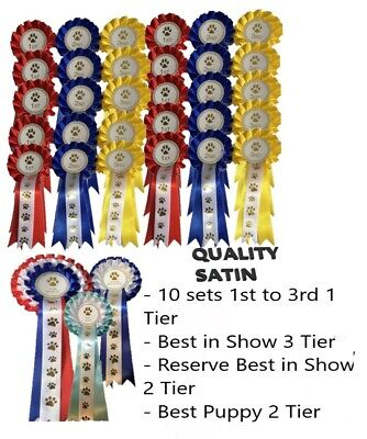 £34.99 • Buy Dog Rosettes Pack 10 Sets Of 1st -3rd Best In Show, Res Best In Show, Best Puppy