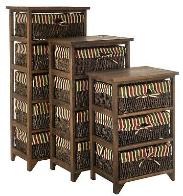 Brown Wicker Drawer Unit Wooden Storage Cabinet Basket Natural Tallboy Organiser • 54.95£