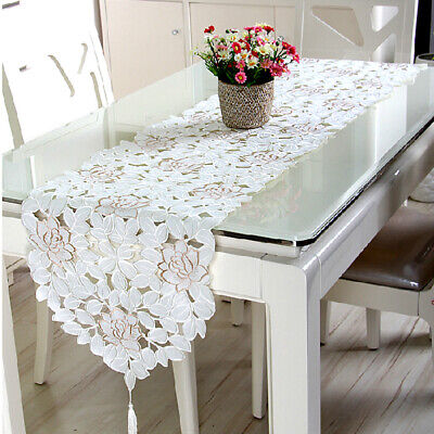 AU15.07 • Buy White Embroidered Lace Table Runner Mats Doilies Dining Room Wedding Party Decor