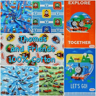 £3.20 • Buy Cotton Fabric Thomas The Tank Engine And Freinds Trains Patchwork Craft Panels