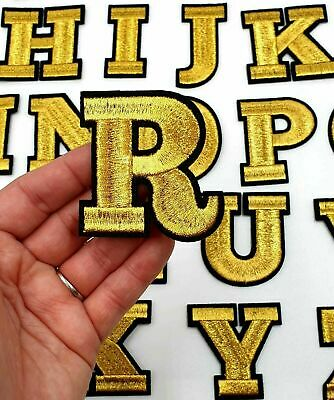 £1.69 • Buy Gold / Black Letter Patch Patches Iron On / Sew On Alphabet Embroidery Clothes