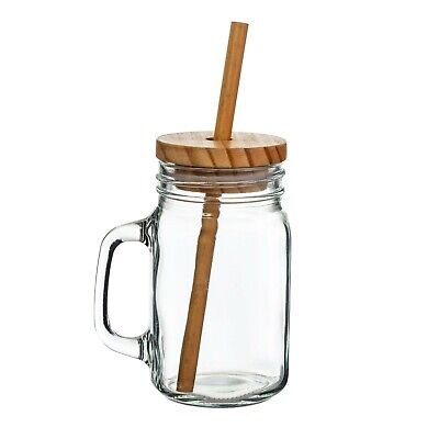 Sass & Belle Glass Mason Jar With Wooden Lid And Bamboo Straw • 4.50£