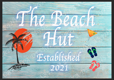 £8.99 • Buy Beach Hut  Personalised Metal Sign Shed Garage Wall Plaque Man Cave Garden Bar