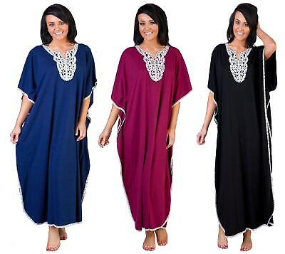 Kaftan Ladies Womens Embroidered Cotton Blend  By La Marquise  One Size 12 - 24  • 15.99£