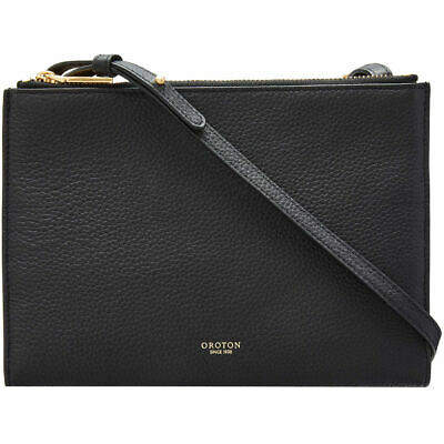 AU169 • Buy Oroton BLACK Duo Double Zip Crossbody Leather Bag $199 Cross Body